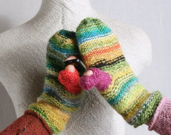 Rainforest green striped smart phone mittens reversible finger and thumbholes local wool kid mohair hand knit mittens