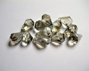 Crystal briolette  - 12 pcs - 9mmx14mm - top sideways drill - Faceted teardrop crystal  beads - smoky grey - CBC5