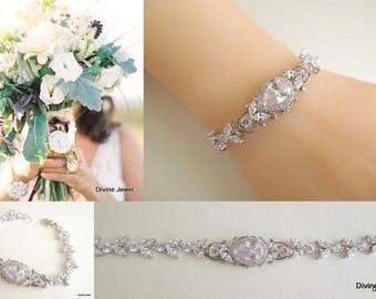 Crystal Bridal Bracelet, Crystal Bracelet, Crystal Bridal Jewelry, Wedding Tennis Bracele,t Crystal Wedding Jewelry, cubic zirconia, TAYLOR