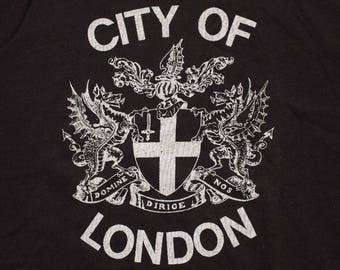 City of London Coat of Arms T-Shirt, UK England Shield Crest, Vintage 80s, Black Punk Rocker Graphic Tee, Gothic Dragons Rock & Roll Apparel