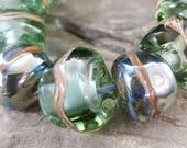 Handmade lampwork glass beads - Seagreen Nuggets