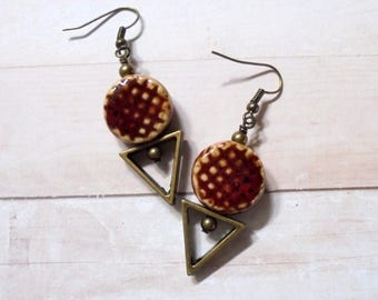 County Red and Brass Rustic Boho Earrings (3668)