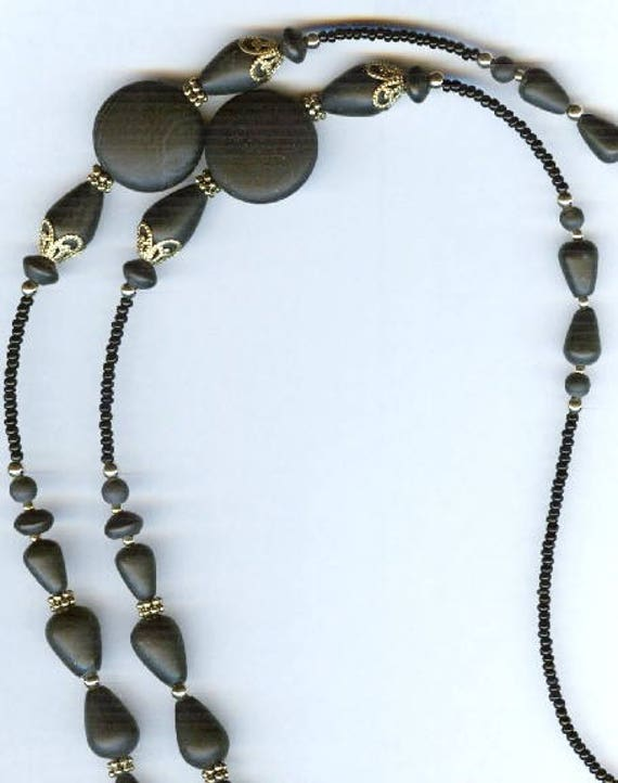Genuine Matte Black Onyx Beaded ID Badge Lanyard or Eyeglass Chain