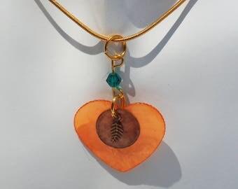 Orange Shell Pendant Necklace