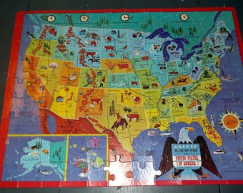 Vintage 1965 United States Map Puzzle from Golden 100 pieces not state shaped but very cute