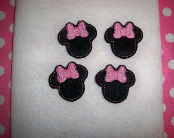 Ready to Ship Machine Embroidered Hand made (4) Felt Miss Mouse Embellishments / appliques