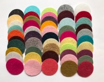Wool Felt Circles Die Cut 50 - 1 inch Random Colored 4093 - felted circles - circle die cuts - headband supplies - kids felt