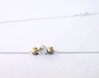 Triple silver and bronze faceted gem necklace