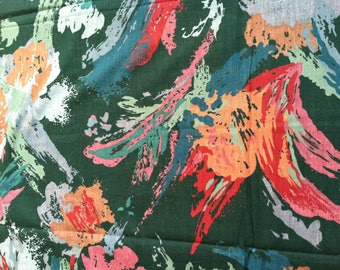 1.5 Yard of Abstract Cotton Fabric, Quilting Fabric, Fabric Destash Sale, Any Occasion Fabric, Green Blue Brown Cotton Fabric,Tote Fabric