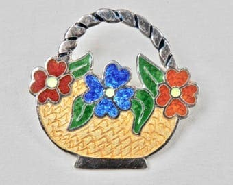 Vintage Brooch Mexican Sterling Silver Enamel Flower Basket Brooch Signed Mexican Flower Pin Vintage Jewelry 1980s Taxco Mexico 925 Yellow