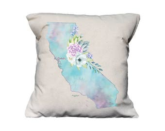 CA Watercolor Floral State Pillow   Cotton Canvas Pillow   Pillow Form Included