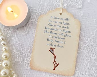 Candle Favor Tags Baby Shower Pooh Boy Kite Once the Stork has made its Flight Set of 10