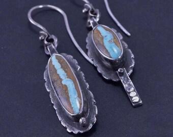 Turquoise Earrings, Royston Ribbon, Boho, Asymmetrical Earrings, Sterling Silver, Silversmith