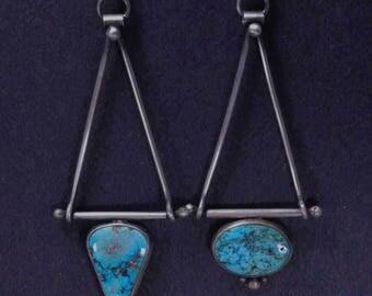 Assymetrical Turquoise Earrings, Boho Earrings, Sterling Silver, Silversmith