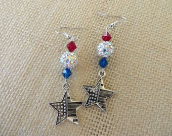 Red White And Blue Flag Star Earrings