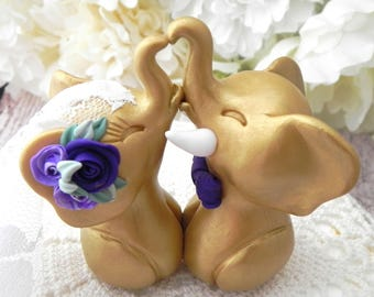Wedding Cake Topper, Elephants in Love, Gold and Shades of Purple, Bride and Groom Keepsake