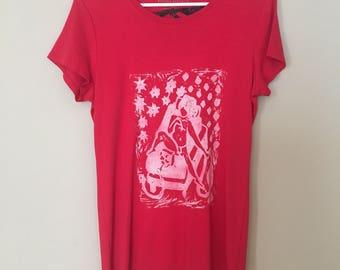 HOOKAH Boy, original LINOLEUM Print, hand printed, red tshirt