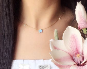 Little Star Necklace-14K Gold Filled-Synthetic Opal-Minimalist Jewelry