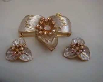 BSK Aurora Borealis Set Brooch Clip  Earrings Goldtone Platnium Wash  Flower