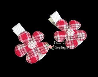 Tartan Baby Hair Clips/Baby Girl Hair Clips/First Day of School Barrette/Red Plaid Hair Clips/Toddler Hair Clips/No Slip Alligator Clips