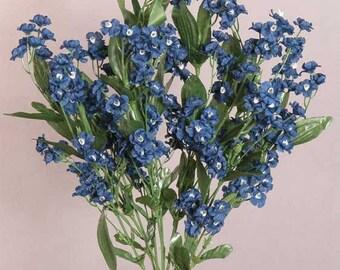 Silk Texas Bluebonnet Bridal Bouquets 13 Piece Set Royal Blue