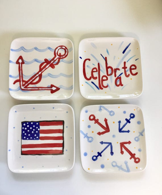 USA appetizer plate, American plate, 4th of July dessert plate, July 4th appetizer plate,  american flag, pottery, July 4th celebtation