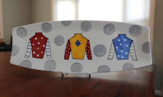 KENTUCKY DERBY platter, Kentucky Derby party, Derby platter, Horse racing platter, Jockey Silk platter