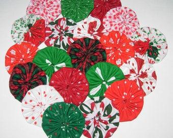 "Christmas Fabric YoYos, 2"" Size, Appliques, Embellishments"