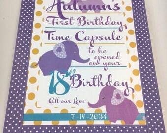 1st Birthday Time Capusule Keepsake box -Elephant Theme