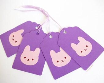 4 labels, Bunny, purple rose, child, birthday gift girl