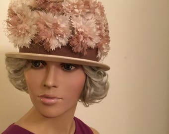 60's Beige Floral Hat with veil