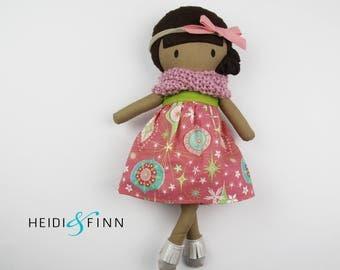 LIMITED holiday stuffed doll Mini Pals soft rag doll keepsake gift OOAK ready to ship holiday christmas pink