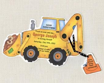 35 Under Construction - Bulldozer - Boy - Birthday - Invitations - Party - Personalized -Zone - Backhoe - Tractor - Digger-Trucks -Sara Jane