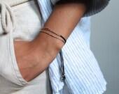 RESERVED Rose gold beaded bracelet,  rose gold silk bracelet