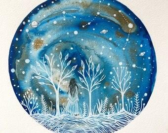 Original Painting// Freya and the indigo starlight
