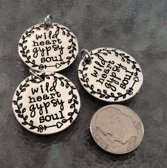 3 wild heart gypsy soul pendant free spirit necklace gypsy charm boho necklace wild. Black Bedroom Furniture Sets. Home Design Ideas