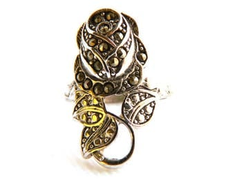 "Vintage Art Deco Silver Marcasite Rose Flower Ring - Wrap - Long - 1"" High - Size 7 - Signed"