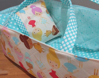 Doll Carrier, Will Fit Bitty Baby and Stella Dolls, Ballerina Fabric with Aqua Lining, 16 Inches Long, Doll Basket