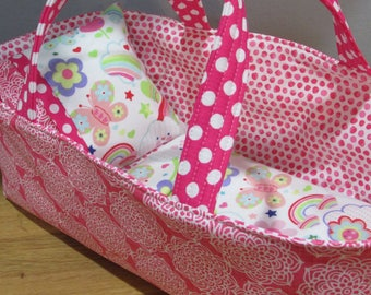 Doll Carrier, Modern Fabric with Pink Lining and Fun Flannel Blanket and Pillow, 14 Inches Long,