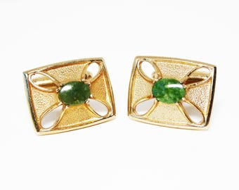 "Mid Century 1950's Vintage Jade Cuff Links - Rectangle shaped  with Cut Out ""X"" - Oval Jade Center Maltese Cross"