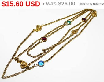 Summer Sizzler Sale Long Station Necklace with Bezel Set Rhinestones & Figural Woman's Faces in Gold Tone - Red Green Blue Crystals - Vin...