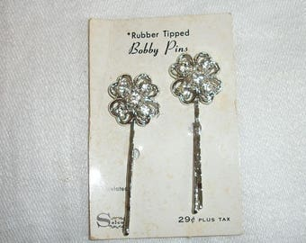 Vintage Lovely Selco Rubber Tipped Bobby Pins Set of 2 on Original Card Rhinestones Mint Condition Never Used