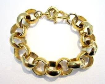 """Vintage Link Bracelet Gold Chunky Bold 7 1/2"""" High Polish Gold tone Bracelet Gift Idea for Her Under 25"""