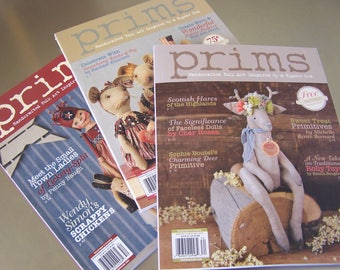 PRIMS Magazine x3 issues 2017, 2016, 2015 Primitive Handcrafted Folk Art Summer and Winter Inspired DIY SVF Free Patterns inside Fabric Art