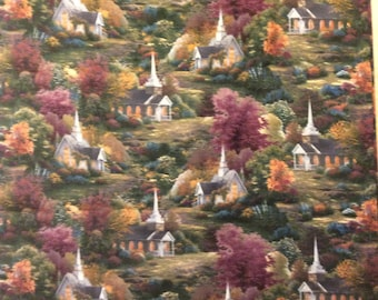 Gorgeous Thomas Kinkade Chapels And Churches in the Woods Fabric By the Yard Free US Shipping