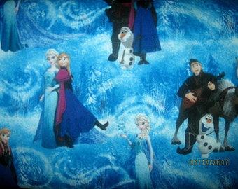 FROZEN Cotton Fabric, Frozen Fabric, 1 Yard, Blue, Scenic, Anna, Elsa, BTY, Winter, Turquoise, Snow Scene, olaf, kristoff, sven