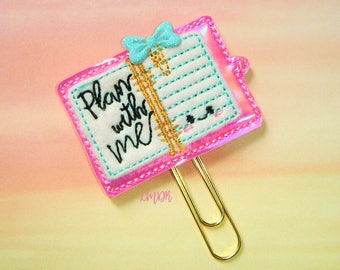 Plan With Me PInk Holo Planner Paperclip Planner Clip