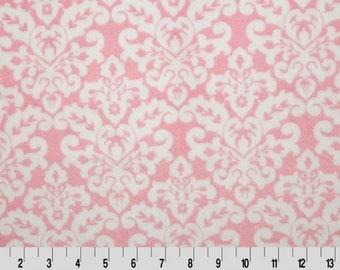 Toddler Size Pink Damask Minky Baby Blanket