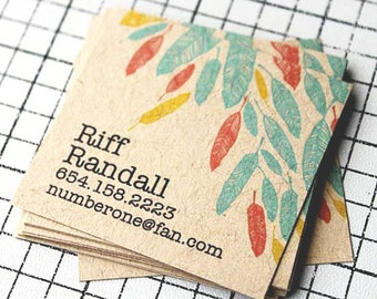 "100 Business Cards or tags 2.5""X2.5"" - printed on 18 PT THICK Kraft board/paper stock - with white ink option - recycled eco-friendly"