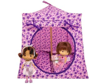 Toy Pop Up Tent, Sleeping Bags, light orchid, floral print fabric for dolls, stuffed animals